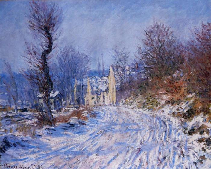 Дорога в Живерни зимой. Клод Моне, 1885 год.   Фото: fiveminutehistory.com.