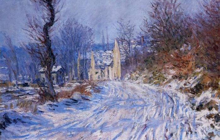 Дорога в Живерни зимой. Клод Моне, 1885 год. | Фото: fiveminutehistory.com.