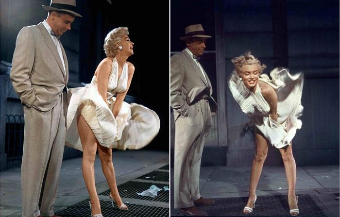 Знаменитые кадры с «летящим» платьем Мэрилин Монро. | Фото: thevintagenews.com.