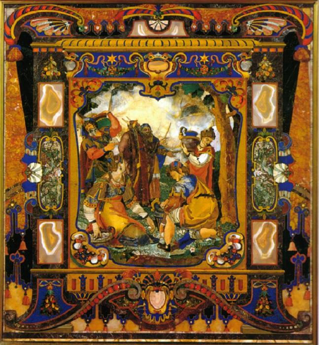Флорентийская мозаика из поделочных камней. | Фото: bellezza-storia.livejournal.com.