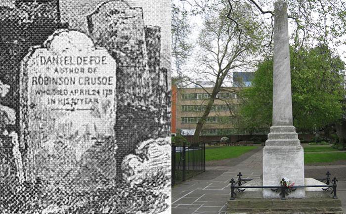 Старая надгробная плита Даниэля Дефо и современный памятник автору.