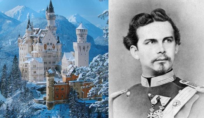 Слева: замок Нойшванштайн, справа: портрет короля Людвига II Баварского.