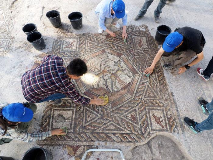 В Израиле обнаружена древнеримская мозаика.