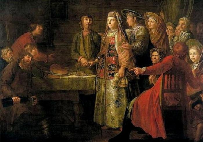 Празднество свадебного договора, М. Шибанов, 1777 год. | Фото: samoffar.ru.