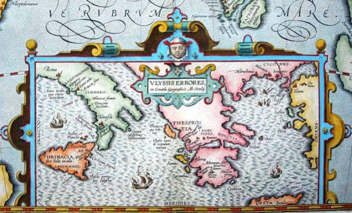 Карта путешествий Одиссея.