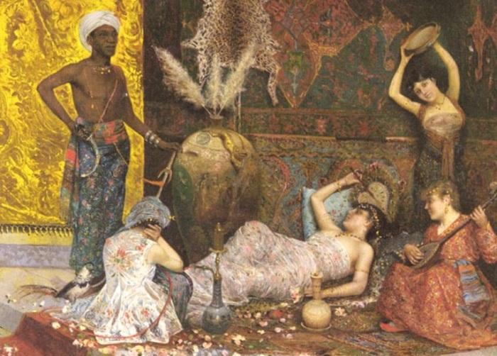 Музыкальная интерлюдия в гареме. Фабио Фабби.   Фото: realhistoryww.com.