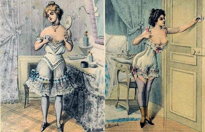 Девушки в нижнем белье. Картинки XIX века.   Фото: thehz.ru.