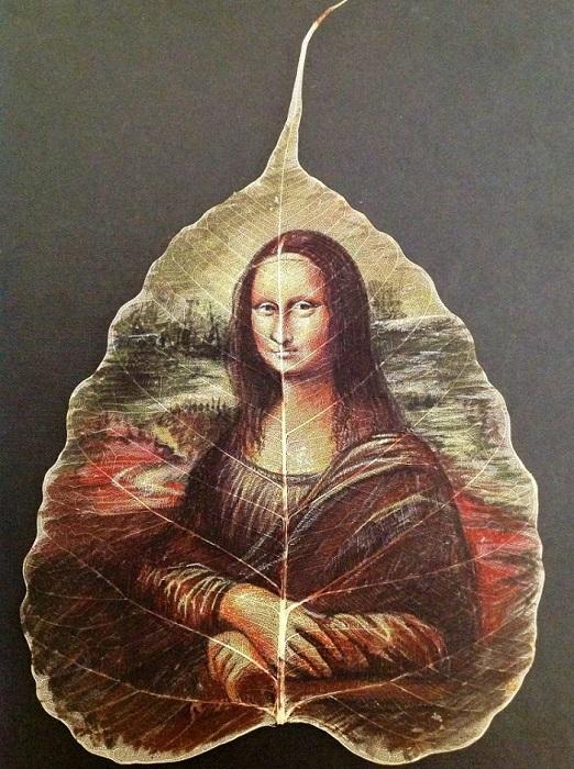 Изображение Мона Лизы на листке. | Фото: odditycentral.com.