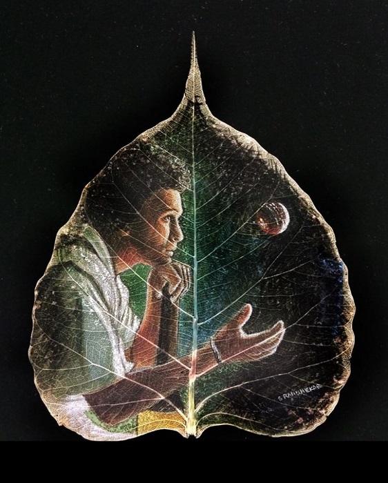 Древнее искусство рисования на листьях. | Фото: odditycentral.com.
