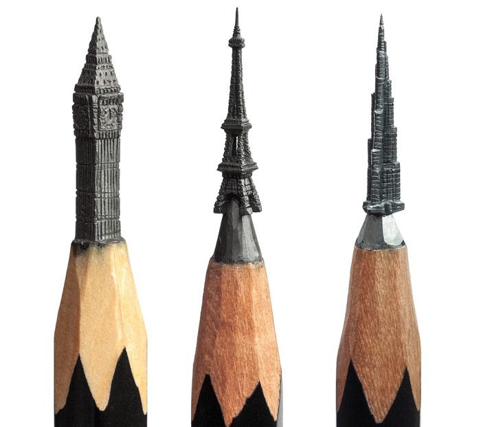Архитектурные миниатюры из грифеля.