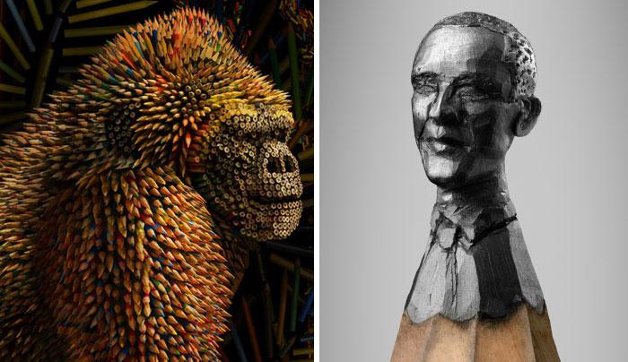 Креативные скульптуры из карандашей.