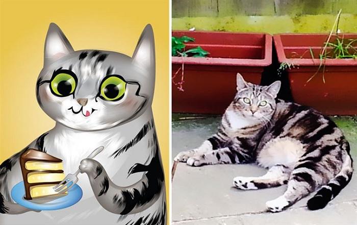 Кошка-обжора.