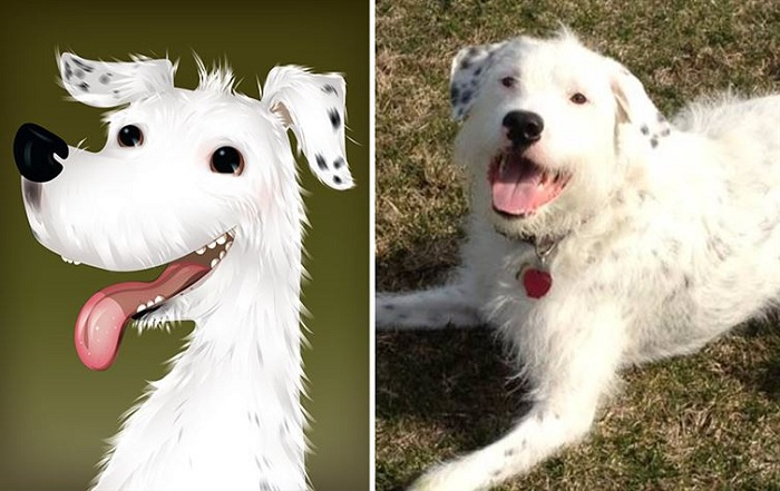 Мультяшный портрет собаки.
