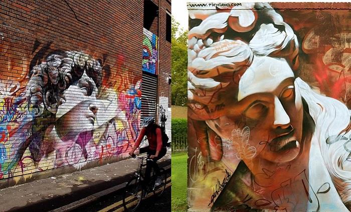 Изображения древнегреческих богов в виде уличного искусства.