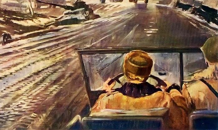 Фронтовая дорога. Ю. Пименов, 1944 год. | Фото: im9.kommersant.ru.