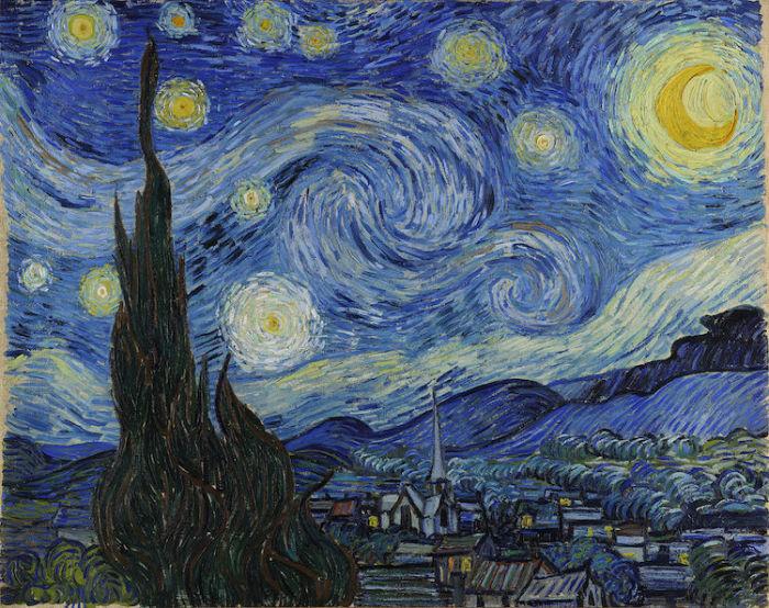 Звездная ночь. Ван Гог, 1889 год. | Фото: mymodernmet.com.