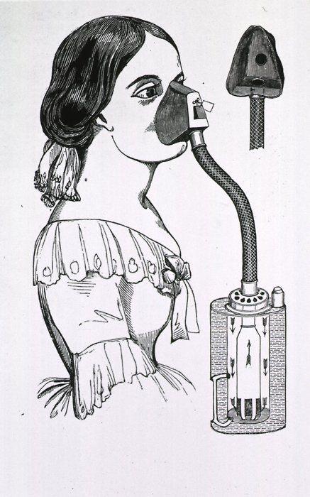 При родах в XIX веке вдыхали хлороформ для наркоза.   Фото: costumecocktail.com.