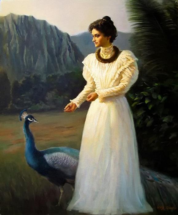 Виктория Каюлани - «Принцесса павлинов», 1895 год. | Фото: fiveminutehistory.com.