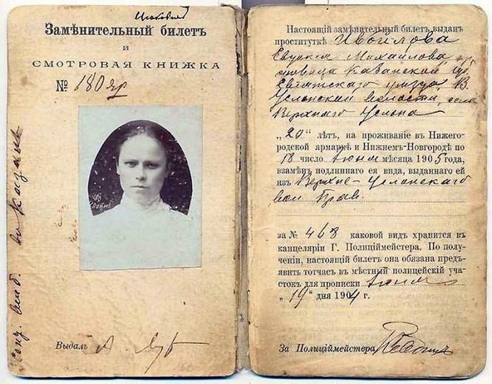 Смотровая книжка проститутке в царской России.   Фото: rnbee.ru.