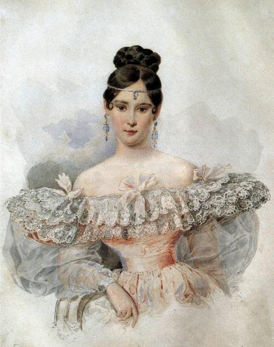 Наталья Николаевна Пушкина (урожденная Гончарова). А. Брюллов, 1831-1832. | Фото: bibliograph.com.ua.
