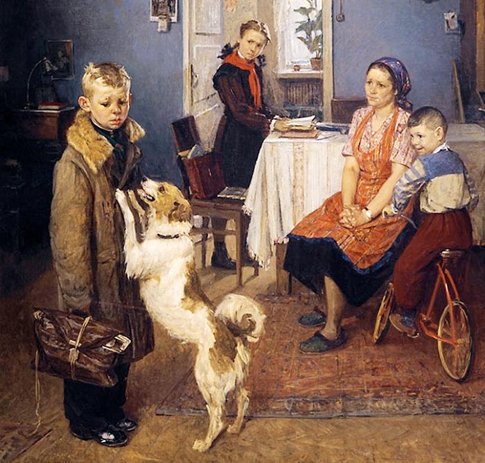 Опять двойка. Ф. Решетников, 1952 год. | Фото: oblgazeta.ru.