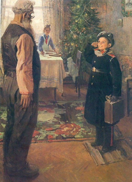 Прибыл на каникулы. Ф. Решетников, 1948 год. | Фото: imcreator.ru.