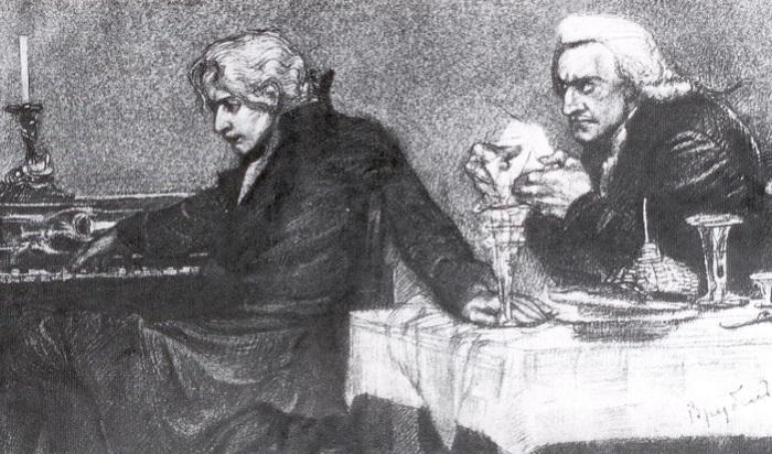 Моцарт и Сальери. М. Врубель. | Фото: opera.odessa.ua.