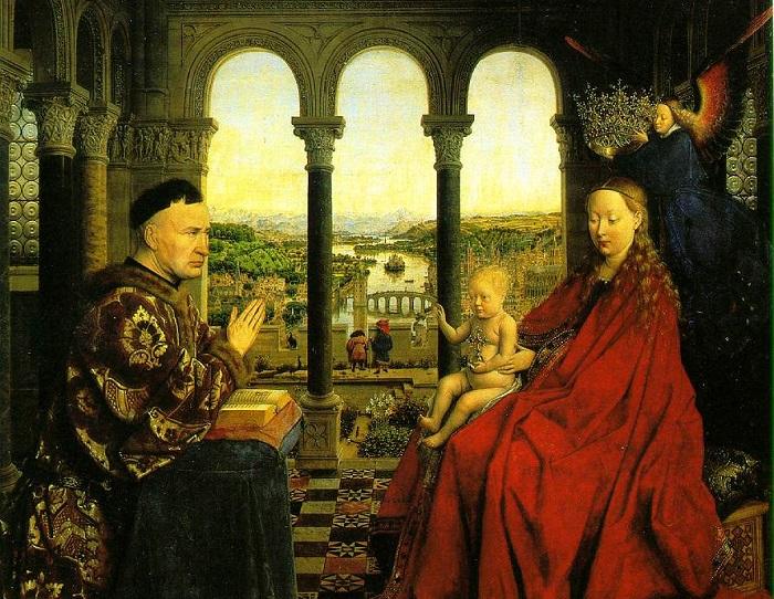 Мадонна канцлера Николя Ролена. Ян ван Эйк, 1435 год. | Фото: ibiblio.org.