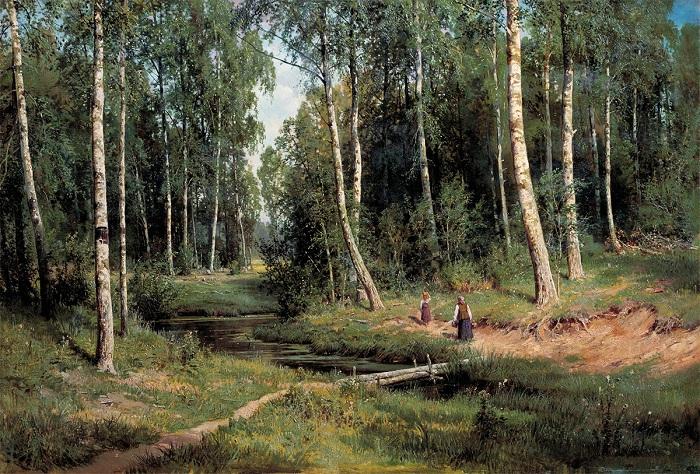 Ручей в березовом лесу. И. Шишкин. 1883. | Фото: allpainters.ru.