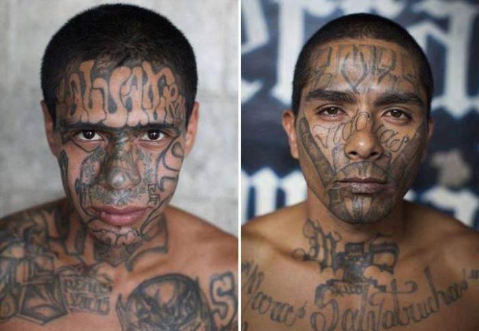 Кровожадные преступники, полностью покрытые татуировками.