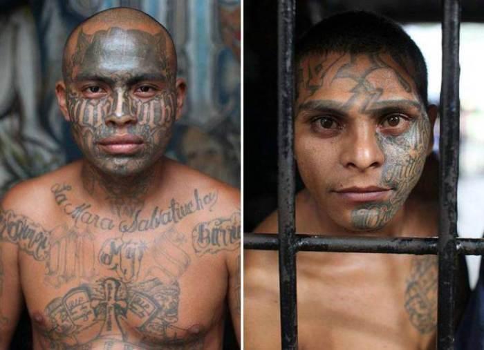 Татуированный член банды Mara Salvatrucha.