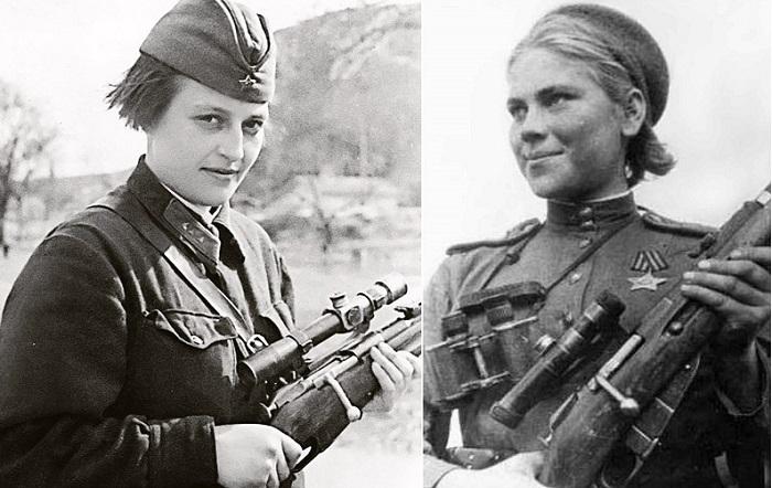 Советские женщины-снайперы Людмила Павличенко и Роза Шанина.