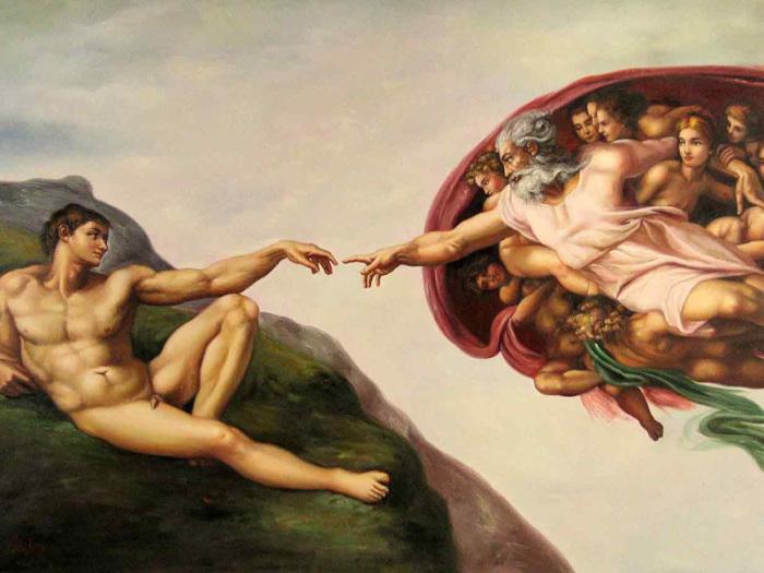 Сотворение Адама - известная фреска в Сикстинской капелле.