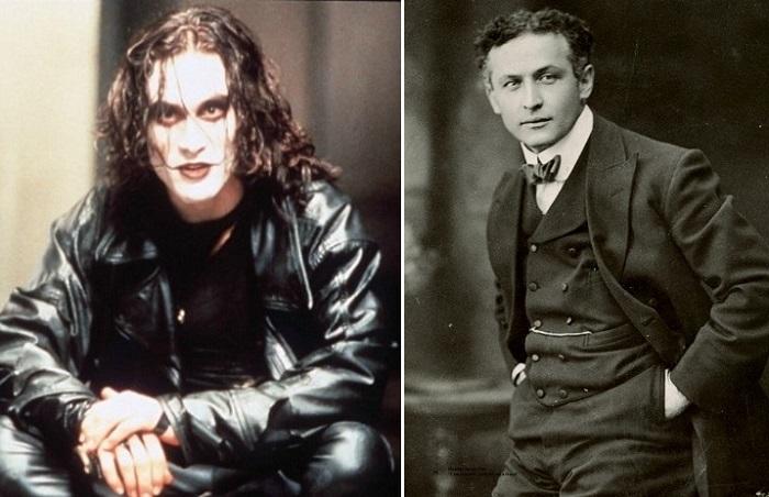Слева: актер Брэндон Ли, справа: иллюзионист Гарри Гудини.