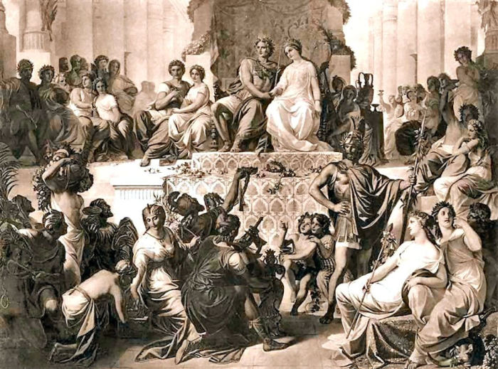 Свадьба в Сузах. Гефестион по правую руку Александра.