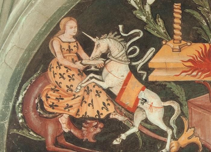 Женщина с единорогом. Фреска Studiolo of Giulia Farnese, Италия. | Фото: hyperallergic.com.