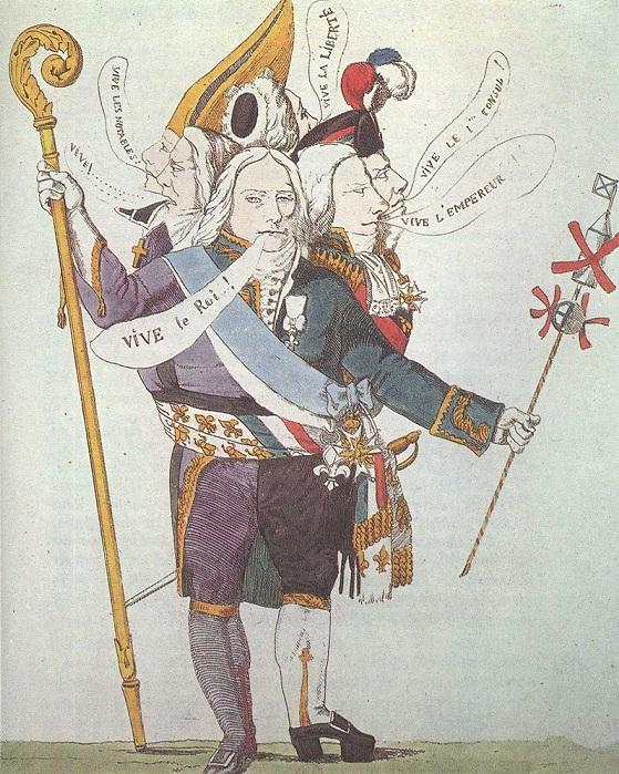 Карикатура 1815 года на Талейрана «Человек с шестью головами». Такой разный Талейран при таких разных режимах. | Фото: weekend.rambler.ru.