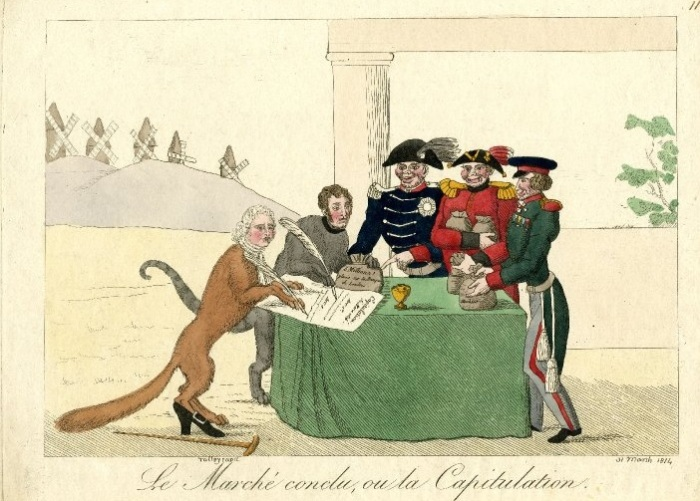 Сатира на капитуляцию Парижа. Талейран в образе лисы подкуплен тремя офицерами, представляющими союзников. | Фото: lj.rossia.org.