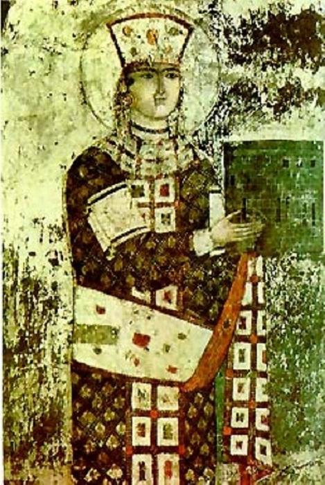 Царица Тамара. Фреска из монастыря Вардзиа. Примерно XIII-XIV вв. | Фото: storyfiles.blogspot.com.