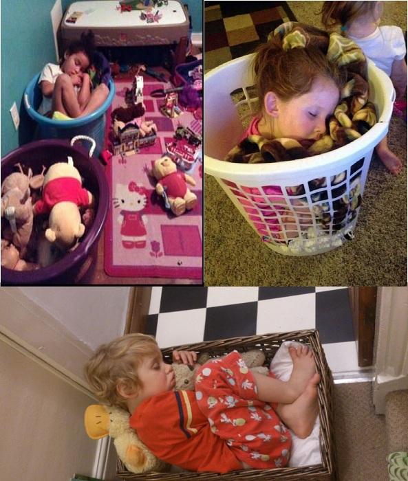 Детки, уснувшие в корзинах.