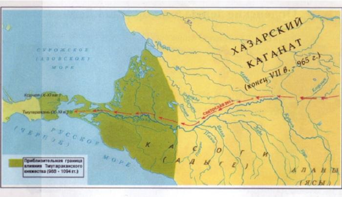 Карта Тмутараканского княжества 10-11 вв.
