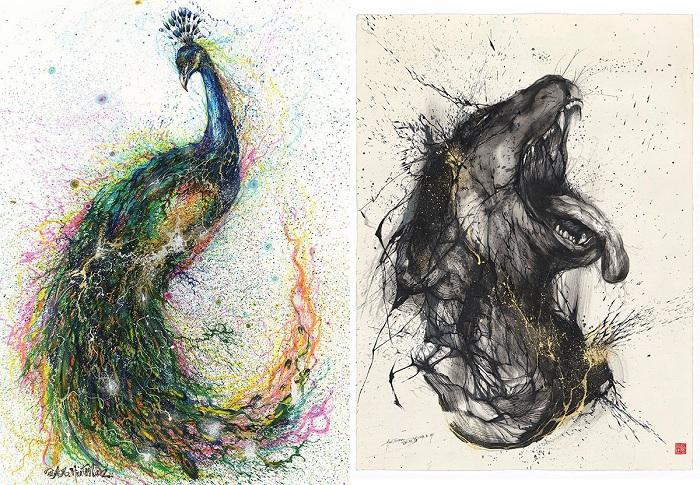 Картины с выставки Earth Spirit, нарисованные художником Hua Tunan.