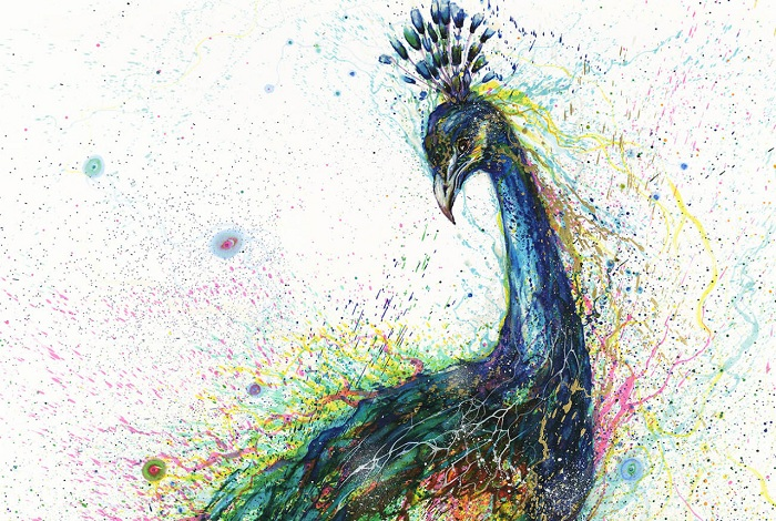 Павлин, выполненный из разноцветных клякс.