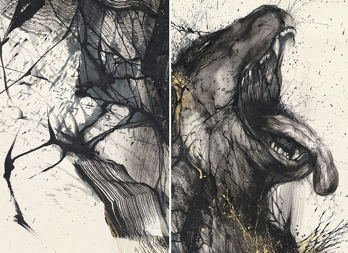 Волк, нарисованный брызгами красок.