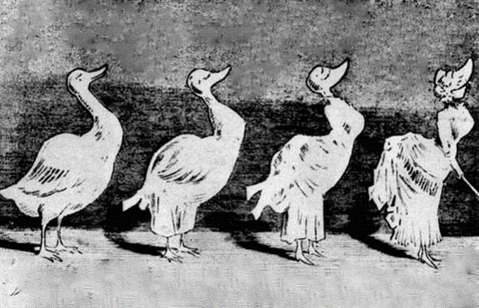 Карикатура на женщин в турнюрах.