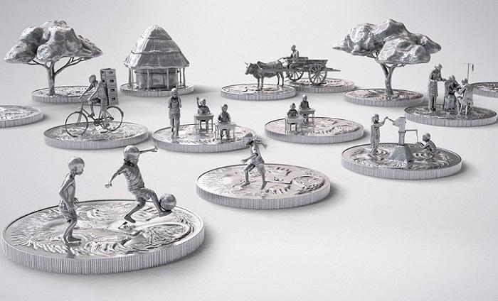 Фигурки людей, величиной с 5-центовую монетку.