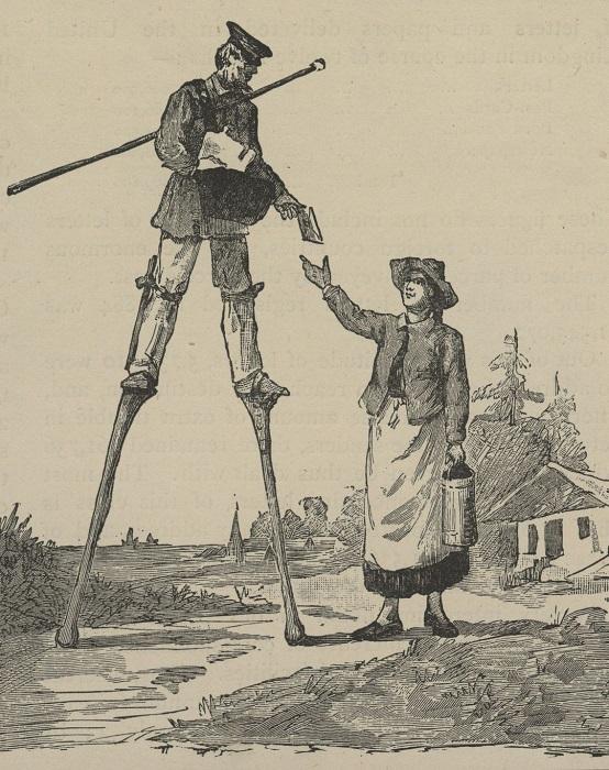 Иллюстрация середины XIX века с изображением почтальона на ходулях.