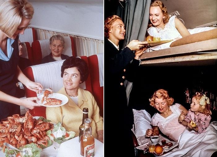 Справа: снимок ок. 1965 года, слева: подача блюд в постель, около 1955 года.