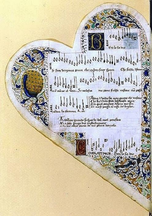 Песенник Жана де Моншеню. 1475 год. | Фото: storyfiles.blogspot.com.
