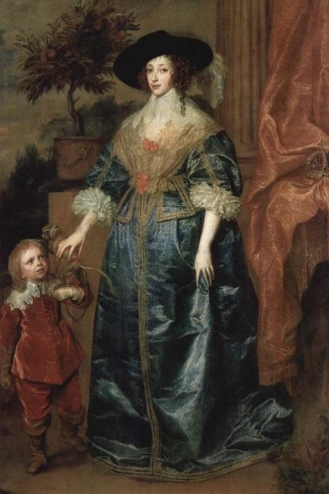 Портрет королевы Генриетты Марии с карликом Джеффри Хадсоном. Антонис ван Дейк, 1633 год. | Фото: art-pics.ru